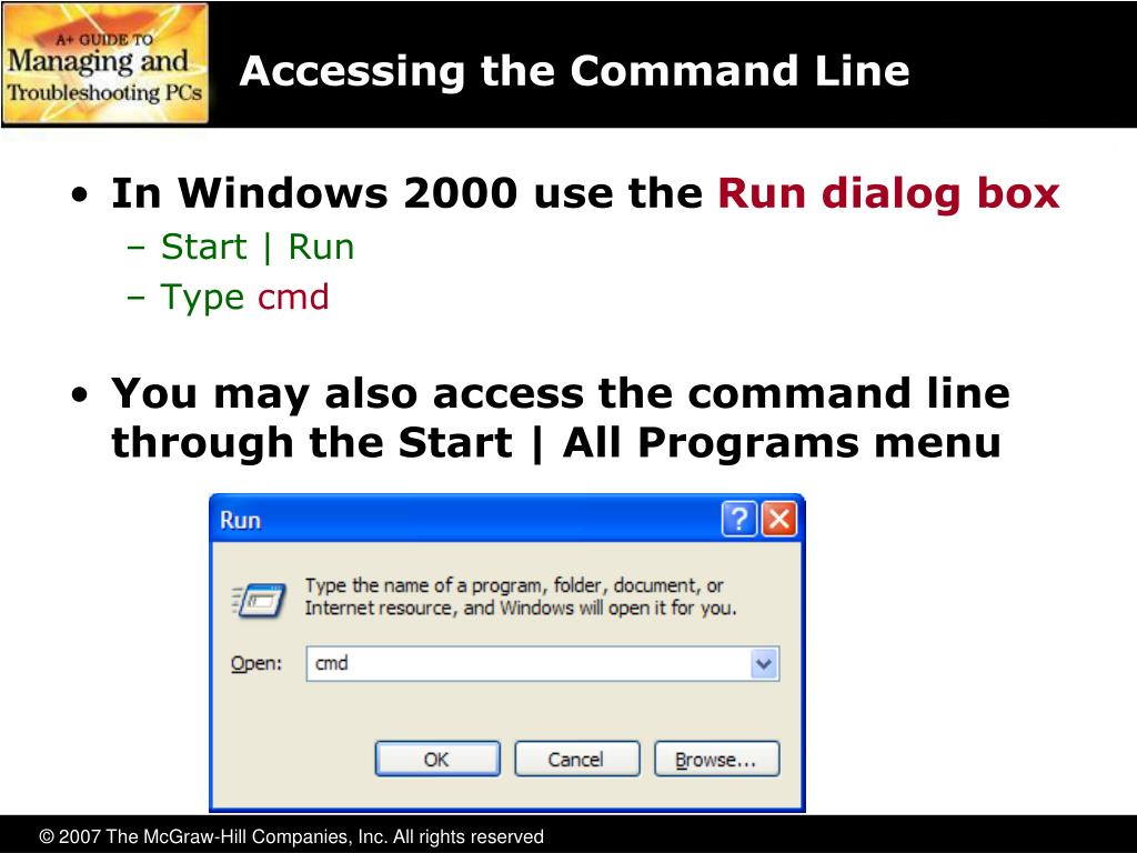Accessing the Command Line