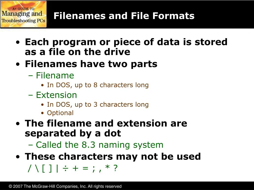 Filenames and File Formats