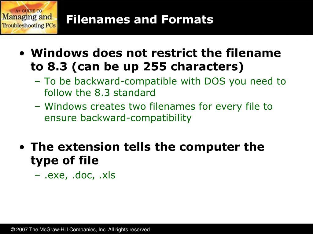 Filenames and Formats