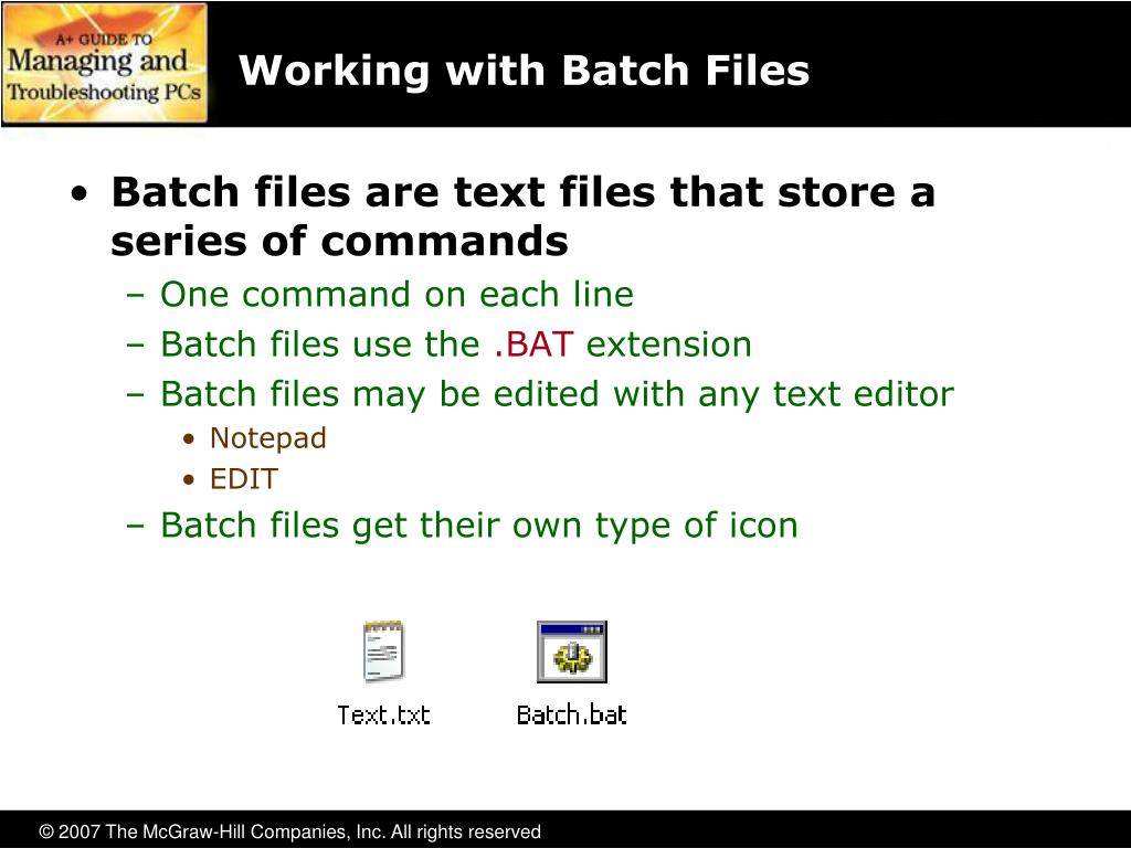 Working with Batch Files