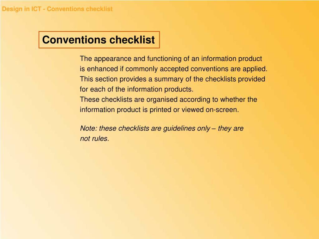 Design in ICT - Conventions checklist