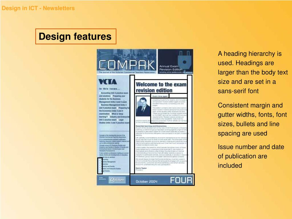 Consistent margin and gutter widths, fonts, font sizes, bullets and line spacing are used