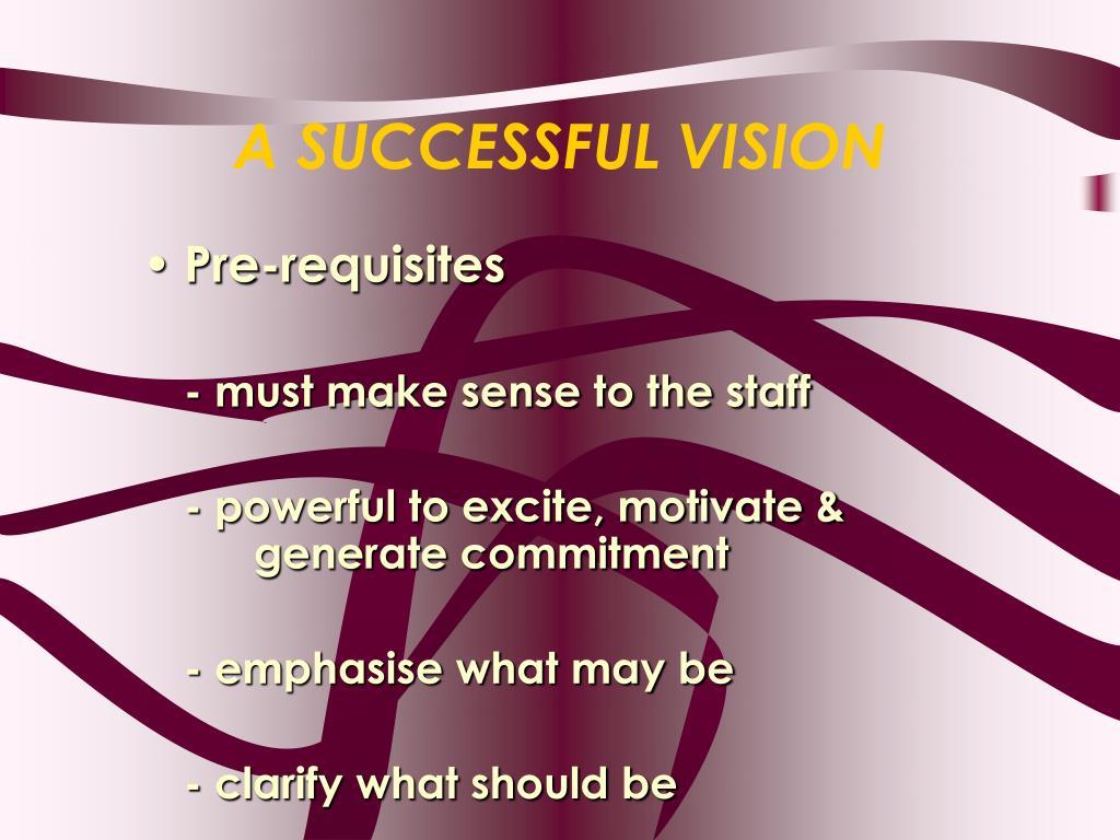 A SUCCESSFUL VISION