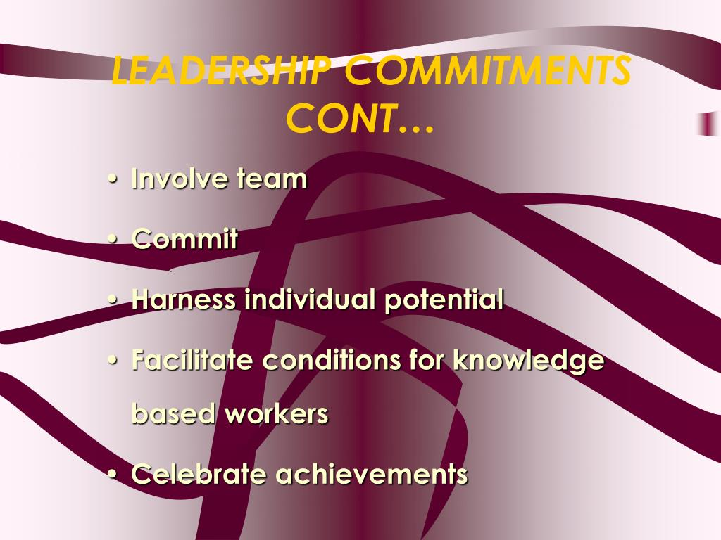 LEADERSHIP COMMITMENTS CONT…