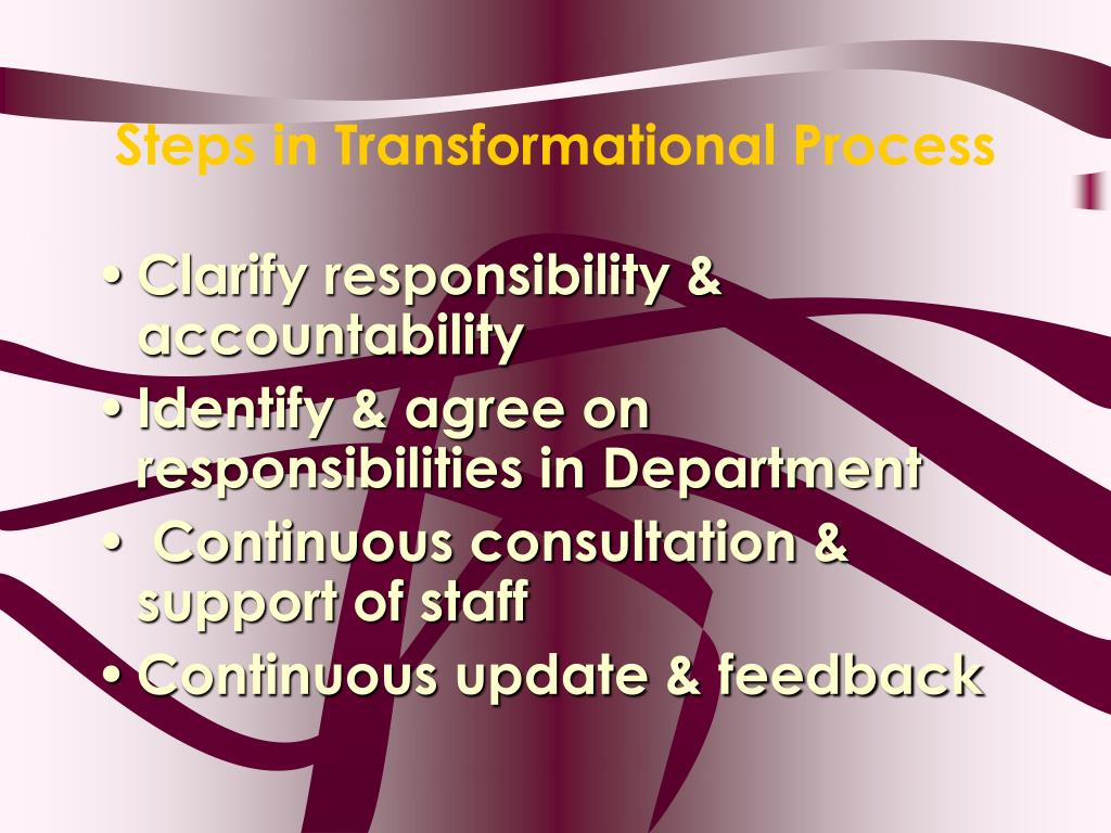 Steps in Transformational Process