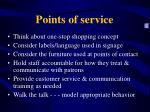points of service