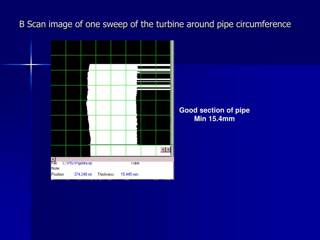 B Scan image of one sweep of the turbine around pipe circumference