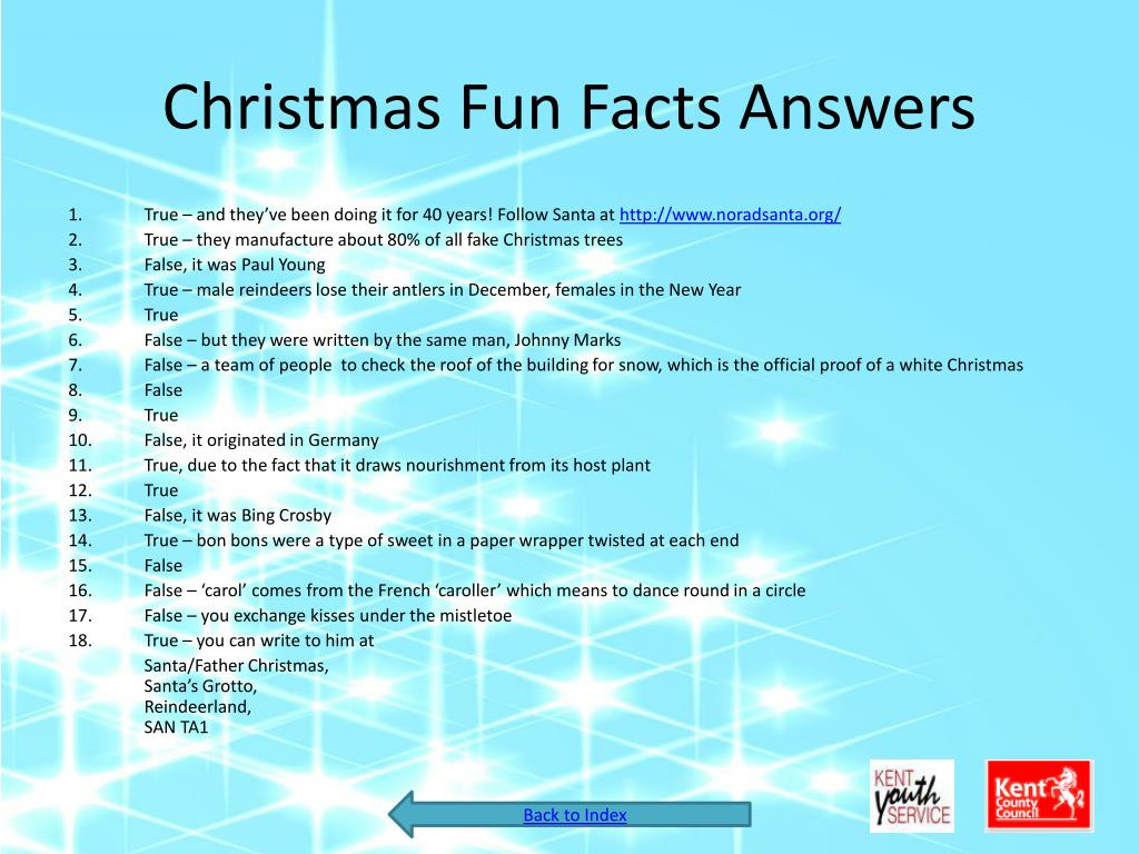 Christmas Fun Facts Answers