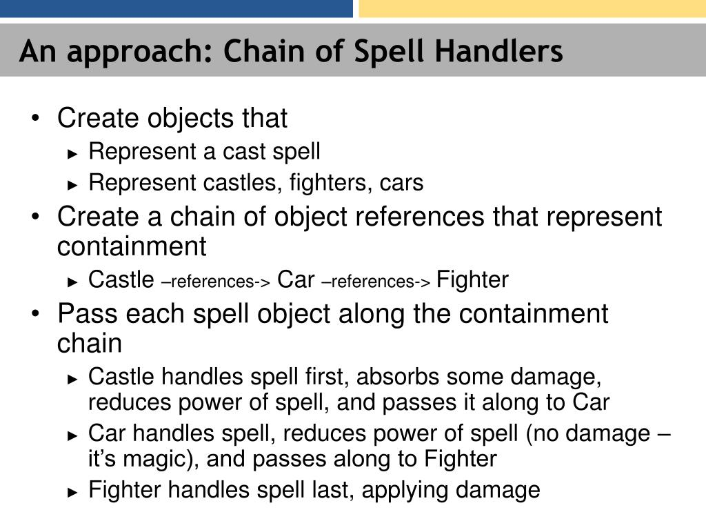 An approach: Chain of Spell Handlers