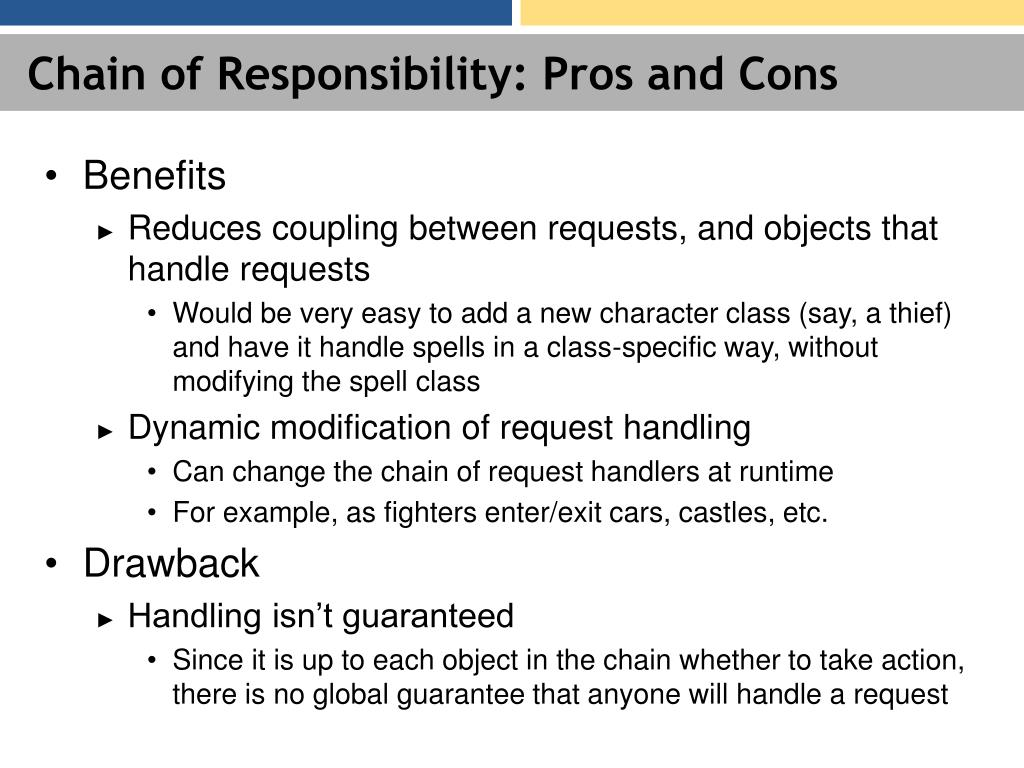 Chain of Responsibility: Pros and Cons