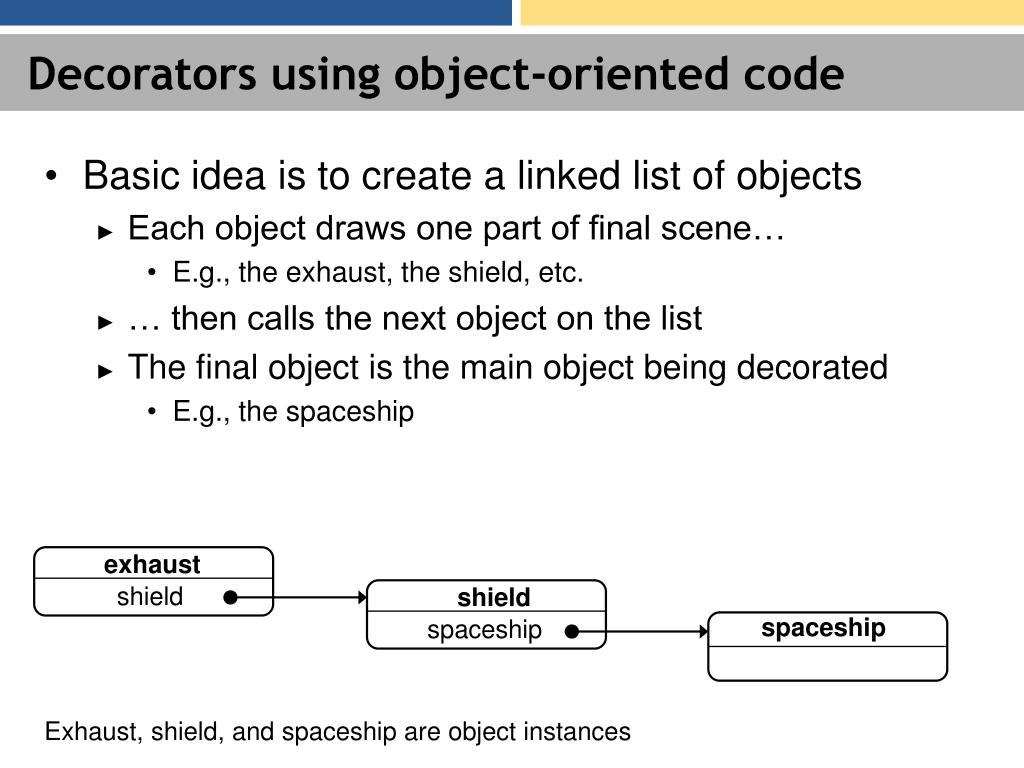 Decorators using object-oriented code