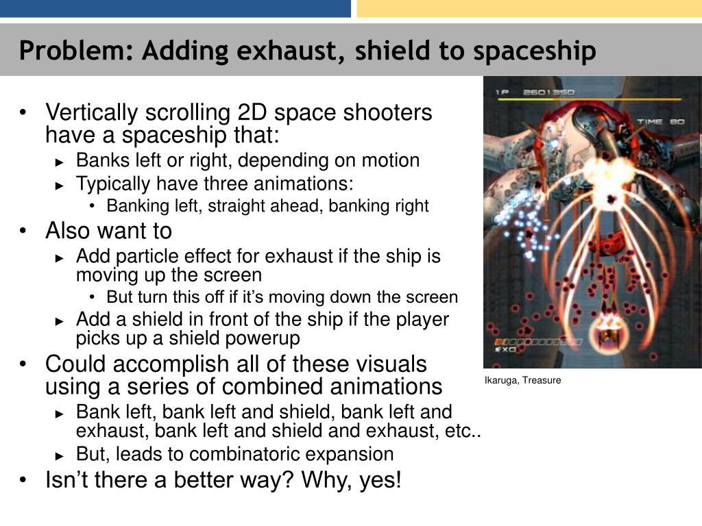 Problem: Adding exhaust, shield to spaceship