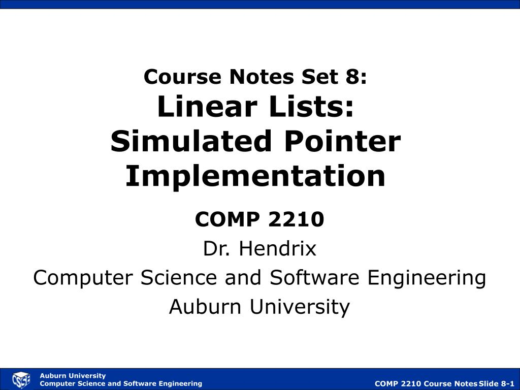 course notes set 8 linear lists simulated pointer implementation l.