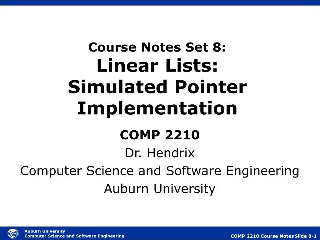 Course Notes Set 8: