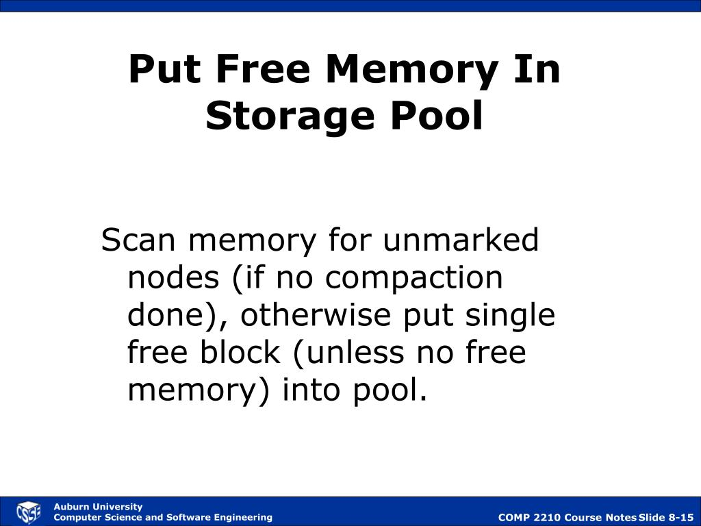 Put Free Memory In Storage Pool