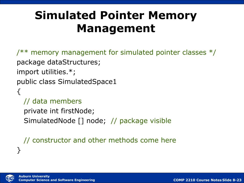 Simulated Pointer Memory Management