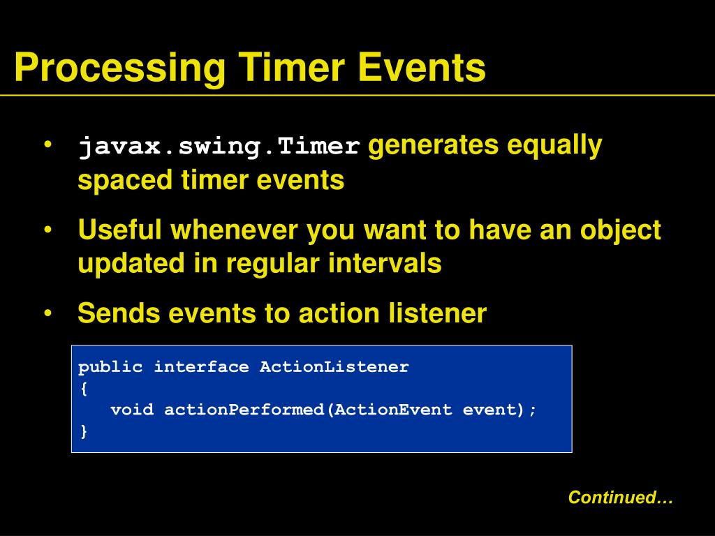 Processing Timer Events