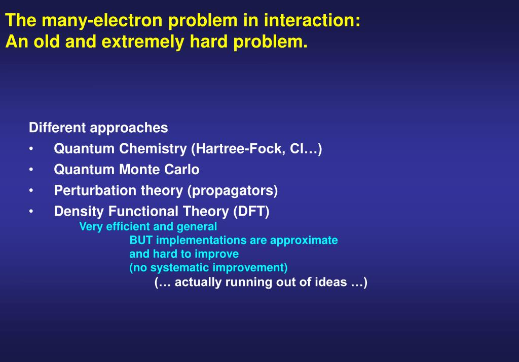 The many-electron problem in interaction:
