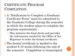 certificate program completion
