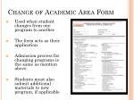 change of academic area form