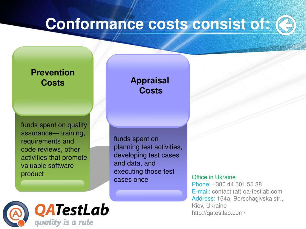 Conformance costs consist of: