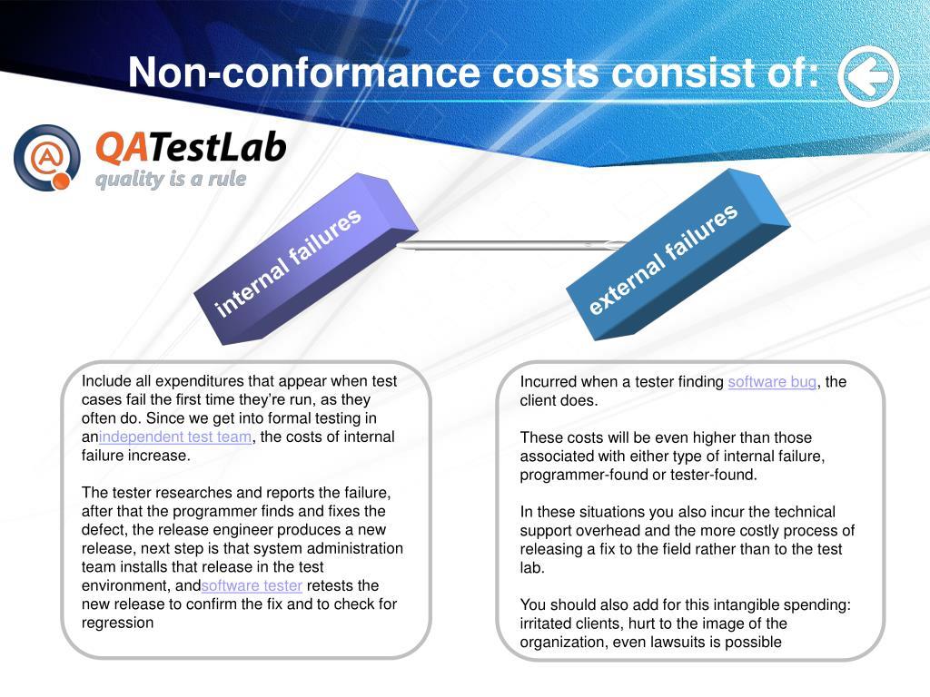 Non-conformance costs consist of:
