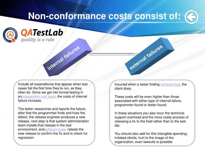 Non conformance costs consist of