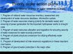 priority order action plans according to national strategy on water resources to 2020