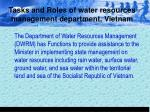 tasks and roles of water resources management department vietnam