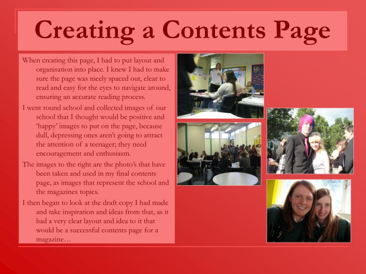 Creating a contents page