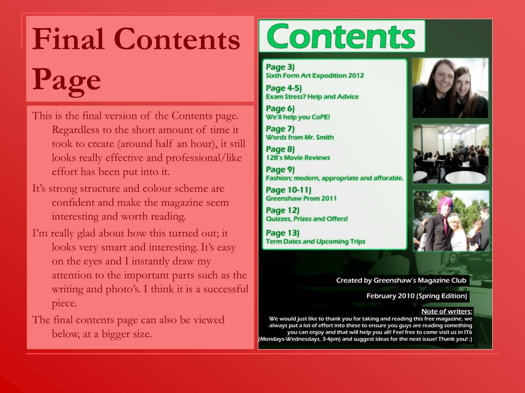 Final Contents Page