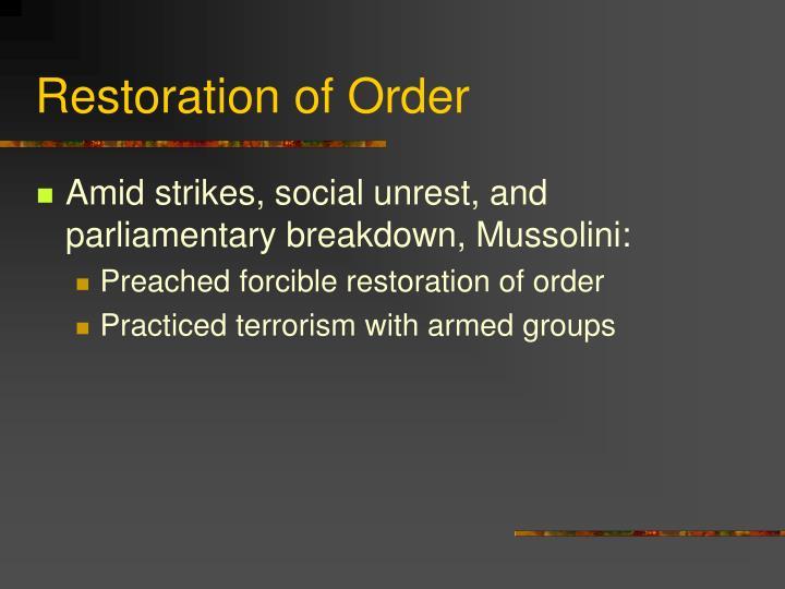 Restoration of Order