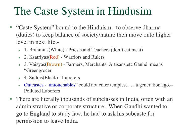 The caste system in hindusim