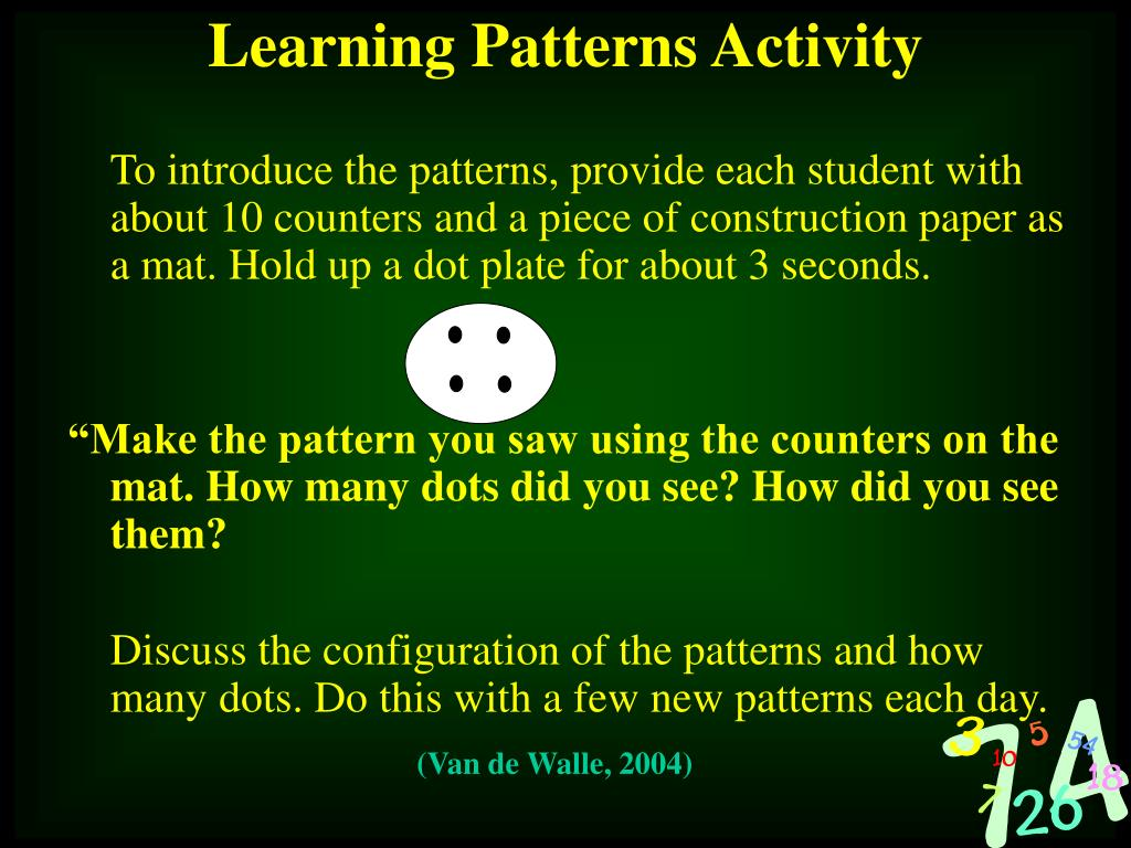 To introduce the patterns, provide each student with about 10 counters and a piece of construction paper as a mat. Hold up a dot plate for about 3 seconds.