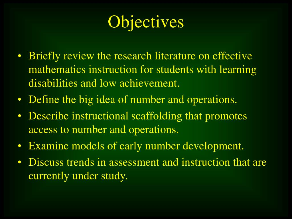 Briefly review the research literature on effective mathematics instruction for students with learning disabilities and low achievement.
