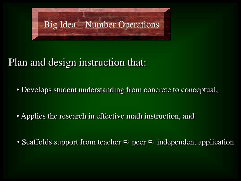 Big Idea – Number Operations