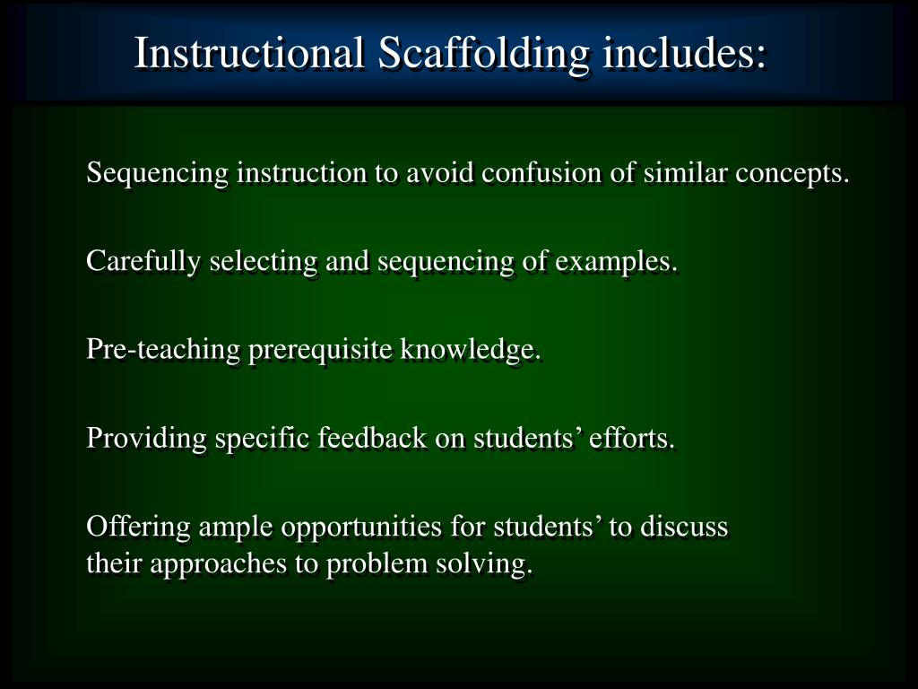 Instructional Scaffolding includes: