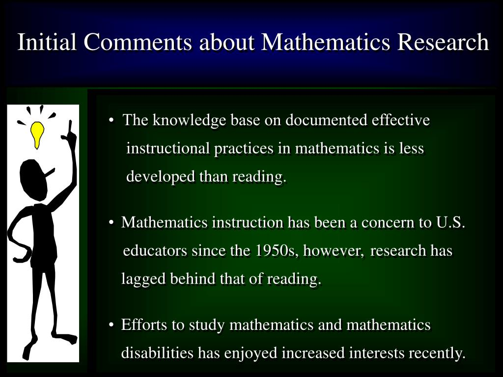 Initial Comments about Mathematics Research