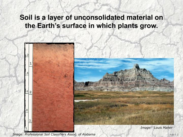 Soil is a layer of unconsolidated material on the earth s surface in which plants grow