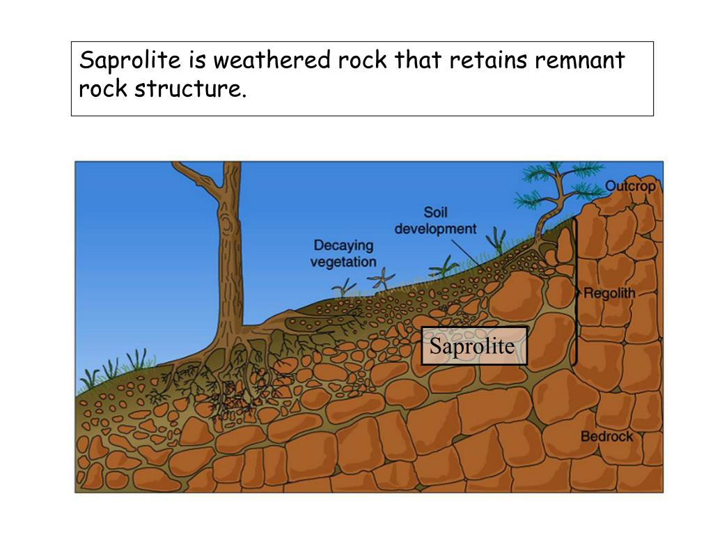 Saprolite is weathered rock that retains remnant rock structure.