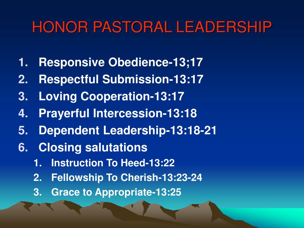 HONOR PASTORAL LEADERSHIP