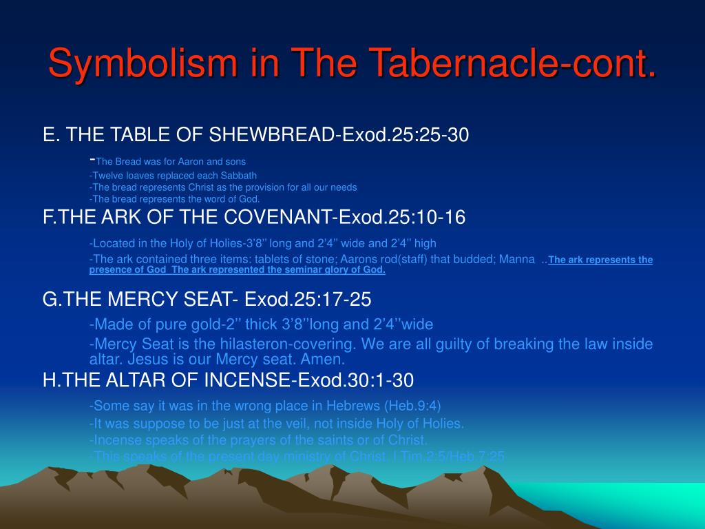 Symbolism in The Tabernacle-cont.