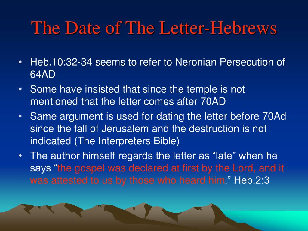 The Date of The Letter-Hebrews