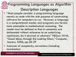 programming languages as algorithm description languages