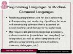 programming languages as machine command languages