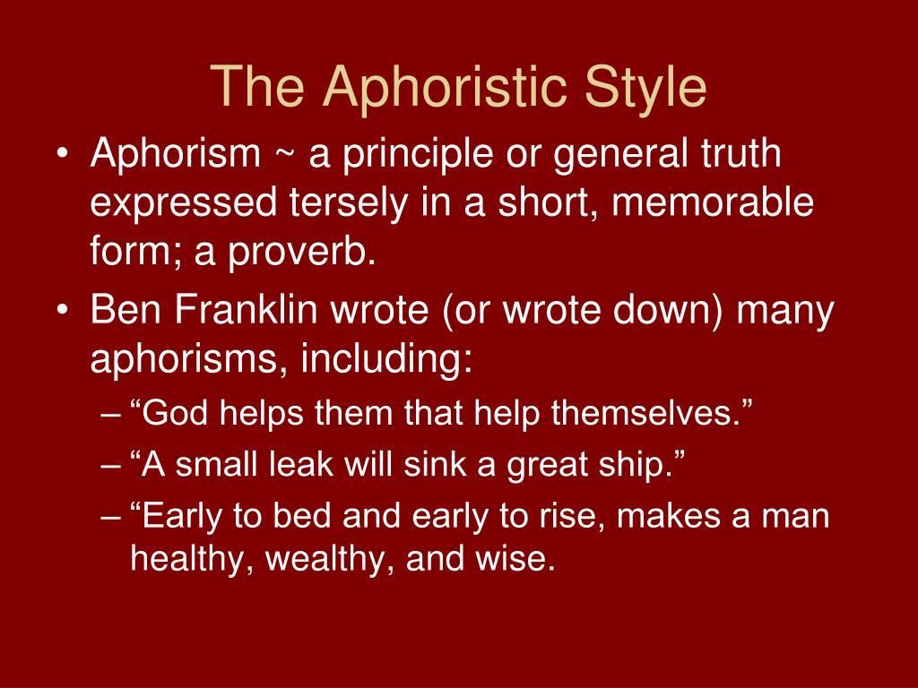 The Aphoristic Style