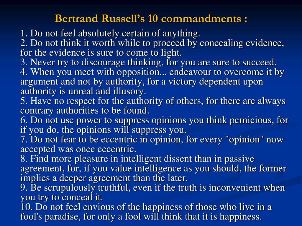 Bertrand Russell's 10 commandments :