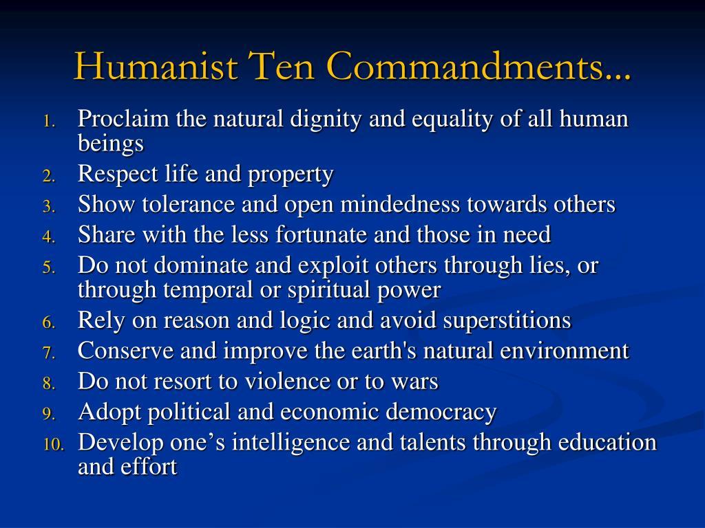 Humanist Ten Commandments...