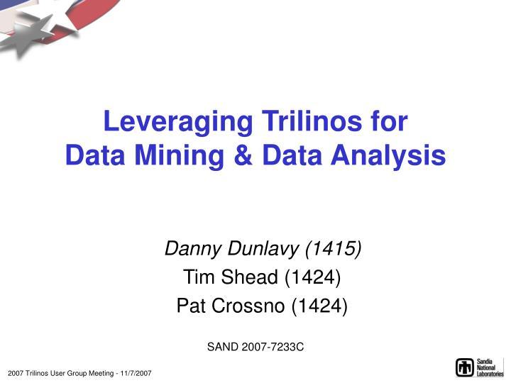Leveraging trilinos for data mining data analysis