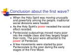 conclusion about the first wave